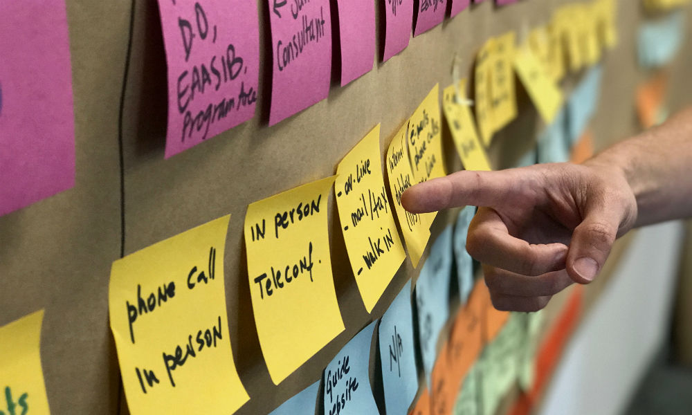 A hand points at a wall of sticky notes during a brainstorm session